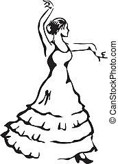 Flamenco-Tänzer. Vektor Illustration.