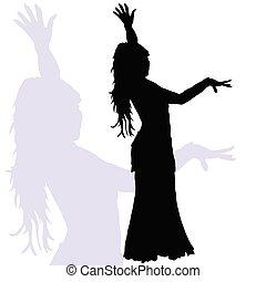 Flamenco-Tanzfrau Silhouette