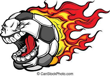 Flaming-Fußball, schreiend Gesichtsvektor Cartoon