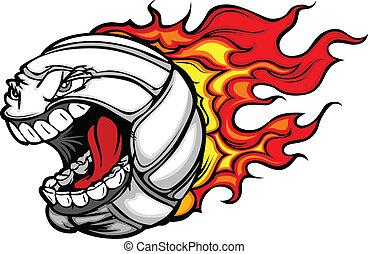 Flaming Volleyball-Ball, schreiend Gesichtsvektor Cartoon