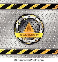 Flammbare Warnzeichen auf Metallplatte.