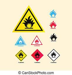 Flammbare Warnzeichen.