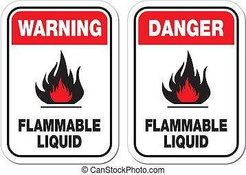 Flammbares flüssiges Zeichen.