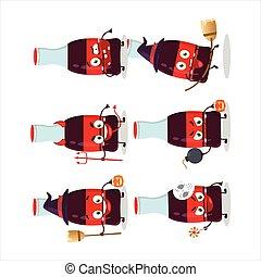 flasche, ausdruck, halloween, soda, karikatur, zeichen, emoticons