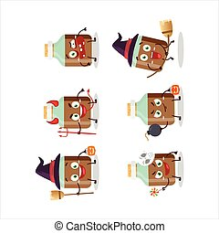 flasche, baby, emoticons, karikatur, zeichen, trinkschokolade, ausdruck, halloween