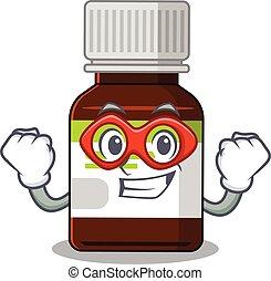 flasche, zeichnung, karikatur, zeichen, honigraum, antibiotikum, held
