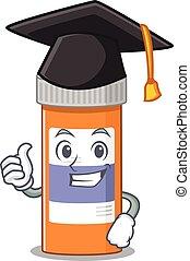 flasche, zeremonie, karikatur, bild, studienabschluss, pillen, droge, hut, design