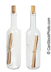 Flaschen mit einer Nachricht.