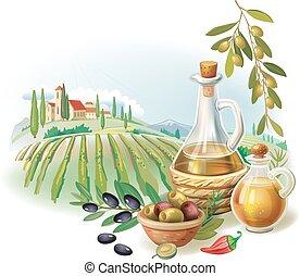 Flaschen mit Olivenöl und ländlicher Landschaft.