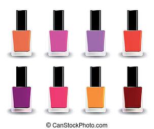 flaschen, nagel, vektor, verschieden, shades., polnisch