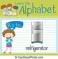 Flashcard Buchstabe R ist für den Kühlschrank.