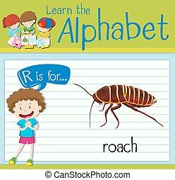 Flashcard Buchstabe R ist für Kakerlaken.