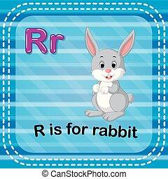 Flashcard Buchstabe R ist für Kaninchen.