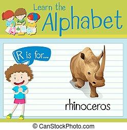 Flashcard Buchstabe R ist für Nashorn.