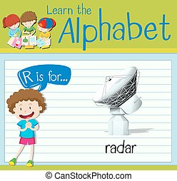 Flashcard Buchstabe R ist für Radar.