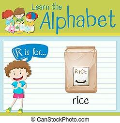 Flashcard Buchstabe R ist für Reis.