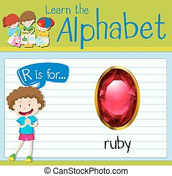 Flashcard Buchstabe R ist für Rubin.