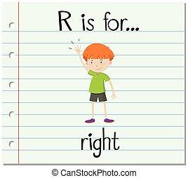 Flashcard Buchstabe R ist rechts.