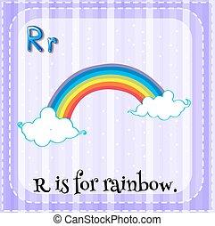Flashcard Buchstabe R steht für Regenbogen.