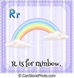 Flashcard von R ist für Regenbogen.