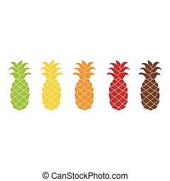 Flat Ananas Icon farbig.