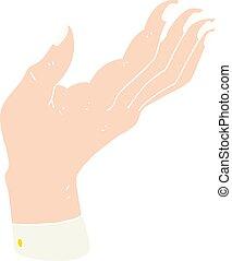 Flat color Illustration einer Cartoon Open Hand hebt Hand hoch.