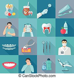 Flat color Shadow Dental Icons.