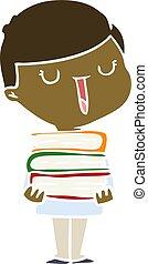 Flat color Style Cartoon Happy Boy mit Stapel Bücher.