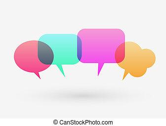 Flat colorful chat bubble. Modernes Design. Kommunikation und soziale Medienkonzept.