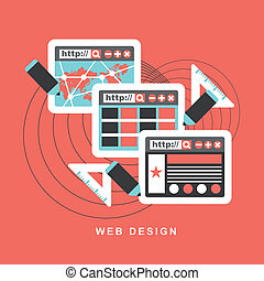 Flat design concept f web design.