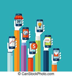 Flat design concept for mobile apps.