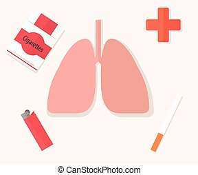 Flat design concept for smoking cessation.