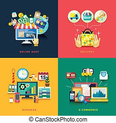 Flat Design für E-Commerce, Lieferung, Online-Shopping, Geschäft.