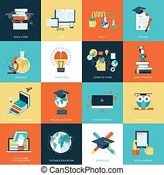 Flat Design Icons für Bildung