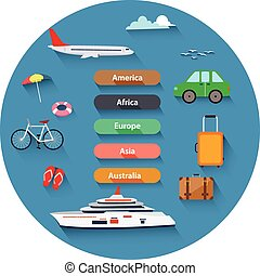 Flat design, Icons set of travel.