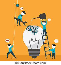 Flat Design Illustration Konzept der Teamarbeit.