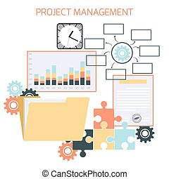 Flat design of project management.