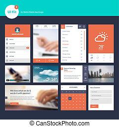 Flat design UI und UX Elemente.