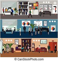 Flat Design von Geschäftsleuten oder Büroangestellten. Vorstellung und Treffen. Büroraum.