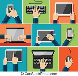 Flat hand Icons mit Geräten.