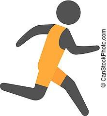 Flat Icon - laufender Athlet