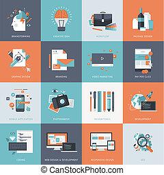 Flat-Icons für die Designentwicklung.