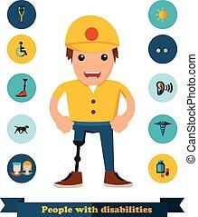 Flat Icons Menschen mit Behinderungen.