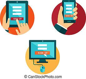Flat Icons mit verschiedenen Geräten zur Anmeldung.