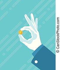 Flat Illustration von Hand mit Bitcoin.