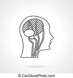 Flat Line Head Anatomie Vektor Icon