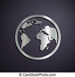 Flat metallic logo earth.