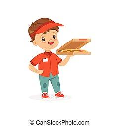 Flat Vektor Illustration des fröhlichen Lieferjungen stehen mit Pizza in der Hand. Arbeiteranzug für Kinder Rollenspiel