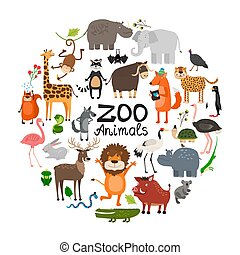 Flat zoo animal round concept.