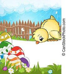 Flauschiges Huhn auf einer Wiese
